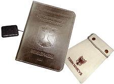German Crest RFID Blocking  PASSPORT WALLET HOLDER Calfskin Leather Reisepass