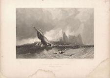 GIBILTERRA DAL MARE - GIBRALTAR FROM SEA - Incisione Originale Armytage Bentley