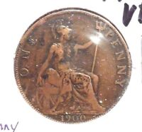 CIRCULATED, VF IN GRADE 1900 LARGE PENNY UK COIN! (22615)