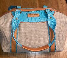 BRAHMIN Teal Embossed Croc & Straw Tan Leather Trim Large Handbag