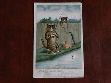 ORIGINAL LOUIS WAIN ? FAULKNER CAT POSTCARD - FISHING MADE EASY.