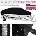 Waterproof Trailerable Boat Cover V-hull Fish Ski Bass 11-1314-1617-1920-22ft