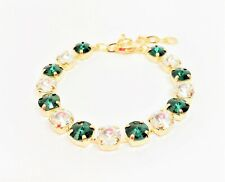 Emerald Crystal Gold Bracelet Statement Tennis Women Birthday Gift Boxed