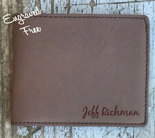 Personalized Mens Wallet Custom Leather Engraved Monogram Groomsman Gift