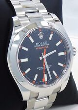 ROLEX Milgauss 116400 Oyster Perpetual Black Dial Steel Watch PAPERS *MINT*