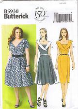 Shawl Collar Surplice Neck Princess Seam Dress Sewing Pattern Plus 18 20 22 24