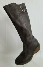 Lassen Knee High Boots Wedge Zip Insulated Womens Brown Leather Size 10