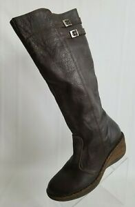 Lassen Womens Boots Knee High Brown Leather Wedge Zip Insulated Size 10