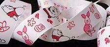 1 inch Winnie POOH bear honey bee hunny pot PIGLET on white Disney RIBBON 1 yard