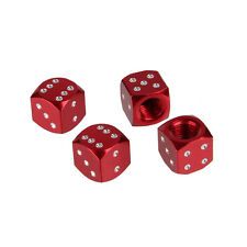 Metal Red Dice Air Car Wheel Air Tyre Valve Dust Caps Covers  Wheel Rim Set of 4