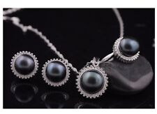 100% 11-13mm Freshwater Pearl 925 Silver Sunflower Necklace Ring Earrings Set