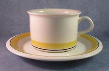 ARABIA OF FINLAND, Faenza Yellow Stripe, Vintage, Tea Cup & Saucer