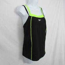 Speedo Tankini Top Endurance Layered Look Black Neon Yellow size 8 New $54