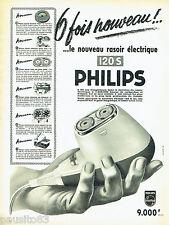 PUBLICITE ADVERTISING 106  1958  Philips  rasoir éléctrique 120S