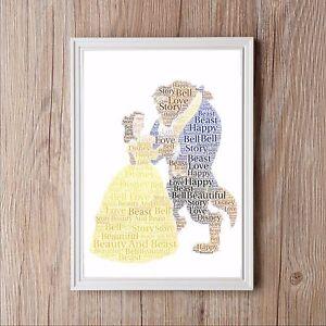 Personalised Disney Beauty And The Beast Word Art Keepsake Birthday Christmas