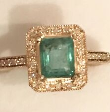 Estate 1.10CT  NATURAL COLOMBIAN EMERALD &  DIAMONDS  10K Solid Yellow Gold Ring