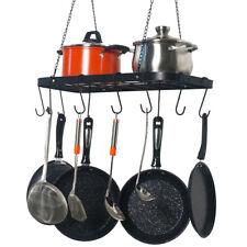 Metal Kitchen Storage Hanging Pot Holder Pan Hanger Shelf Cookware Rack + Hooks