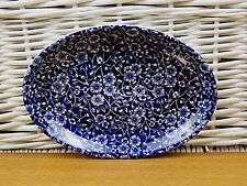"Blue Calico Staffordshire Utility Tray Condiment 8""x6"" Like Some Burleigh Calico"
