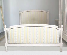 SUPERB OLD FRENCH UPHOLSTERED CUSTOM KINGSIZE LOUIS XVI CAPITONE BED