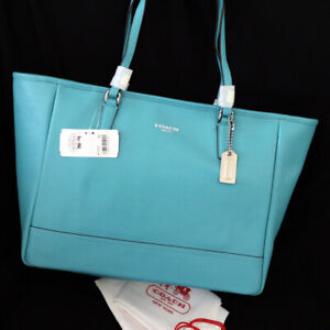 NWT COACH 23576 Robin Blue Saffiano Leather E/W Shoulder Weekend Tote Bag NEW