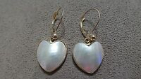 NWOT QVC 14k Yellow Gold Mother-of-Pearl Heart Dangle Leverback Earrings NICE!