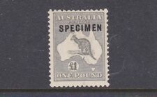 "KANGAROO THIRD WATERMARK £1 GREY ""SPECIMEN"" TYPE C FRESH MINT ""VERY SCARCE"""