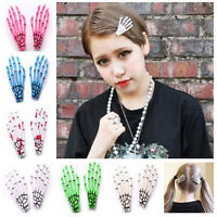 Halloween Womens Skull Skeleton Hand Punk Zombie Party Hair Clip Gothic Hairpin