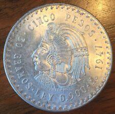 1947 Mexico 5 Pesos BU Cuauhtemoc Silver Coin
