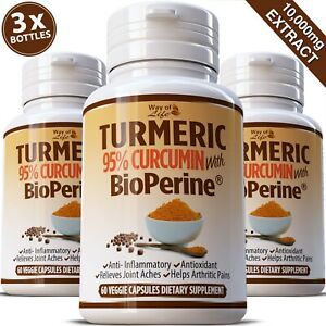 180 TURMERIC BLACK PEPPER PILLS 95% CURCUMIN TUMERIC 10,000mg STRONGEST EXTRACT