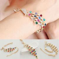 Fashion Women Rhinestone Crystal Colorful Peacock Chain Bangle Bracelet Jewelry
