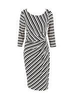 LADIES BLACK WHITE STRIPE MONOCHROME STRETCH BODYCON DRESS 6 8 10 12 14 16 18 20