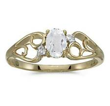 Genuine White Topaz and Genuine Diamond 10K Yellow Gold Ring