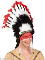 ADULTO INDIO Mohawk Nativo Americano Disfraz Alto Tocado Plumas