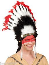 Adult Indian Mohawk Native American Fancy Dress Costume Tall Feather Headdress