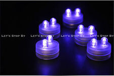 70 PURPLE SUPER Bright Dual LED Tea Light Submersible Floralyte Party Wedding