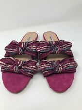 Charles David Size 12M Fuchsia Pink Souffle Sandals Bow Casual Slip On 1623