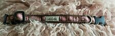 "EUC bella bean Pink and Brown Paisley Size S Dog Collar 7.5""-10.5"" 5/8"" Wide"