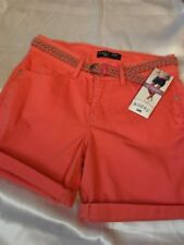 RIDERS by LEE WOMEN'S MID RISE SHORTS SIZE 14 PEACH COLOR WITH WOVEN BELT