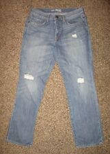 """EXPRESS Women's Size 8 Distressed Straight Leg Fit Blue Jeans - 30"""" Inseam"""