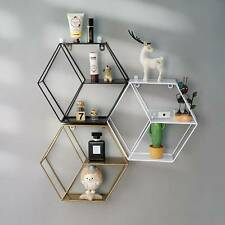 Metal Wire Wall Shelf Hexagon Wall Floating Shelf Display Storage Rack Shelf