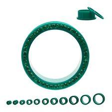 "PAIR-Green w/Green Gems Acrylic Screw On Tunnels 25mm/1"" Gauge Body Jewelry"