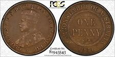 AUSTRALIA SCARCE 1931 ALIGNED 1 INDIAN OBVERSE PENNY - PCGS GRADED VF35