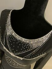 MONDOR Swarovski Crystal Black Glitter Custom Figure Skating Dress Adult Medium