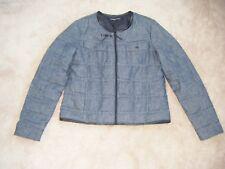 COMPTOIR DES COTONNIERS Blue Faux Leather trimmed Down Puffa Jacket size EU M