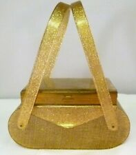 Gold Sparkle Lucite Box Purse with Vanity Case Above the Lid
