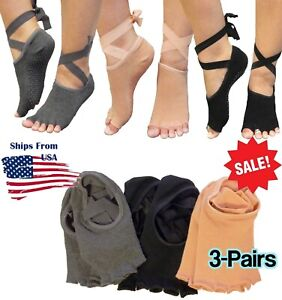 3-Pair Women Lace-Up Non-Slip Yoga Ballet Dance Pilates Barre Half Toe Socks USA