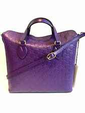 Gucci bag Signature GG purple leather bag tote shoulder cross body 1790msrp