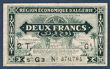 ALGERIE - 2 FRANCS - Pick n° 102 de 1944. en TTB  2T G3 N° 370,784