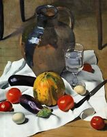 Oil painting Félix Vallotton - Still Life with Large Earthenware Jug vegetables