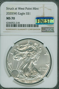 2020 (W) SILVER EAGLE NGC MS-70 MAC FINEST GRADE & SPOTLESS .